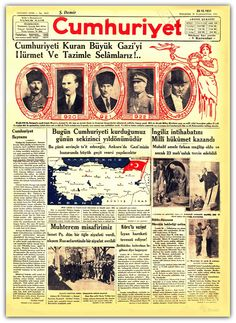 ATATÜRK - CUMHURİYET GAZETESİ 29.10.1931 Republic Of Turkey, Republic Day, Newspaper Archives, Old Newspaper, Old Fonts, Turkey History, Welcome To School, Turkish People, Turkish Army