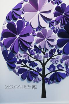 Tree Wedding Guest Book Unique Purple 3D Paper by MioGallery