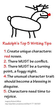 Rudolph's Top 5 Writing Tips. Merry Christmas from Fiction Notes and Darcy Pattison. See the other Holiday Writing Tips from Santa, Gingerbread Man, Frosty and more. www.darcypattison.com