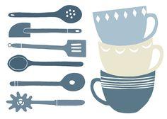 cuisine shapes. Clare Owen illustration