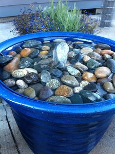 Water feature made with a water pump in a 5 gallon bucket inside of a larger flower pot. Wire fencing was used on top of the 5 gallon bucket inside the blue flower pot with rocks laid on the wire fencing. Very simple and quick!