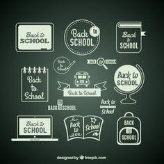 Free vector Back to school items on blackboard School Items, Blackboards, School Design, Back To School, Vector Free, Chalkboards, Back To College, Chalk Board
