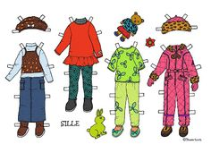 Karen`s Paper Dolls: Sille 1-3 Paper Doll in Colours. Sille 1-3 påklædningsdukke i farver.