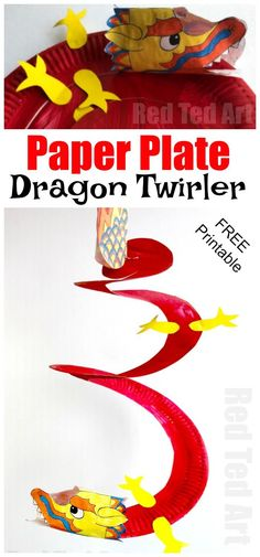 Paper Plate Dragon Twirler - a super fun Paper Plate Chinese New Year Craft, the printable makes this a quick and easy craft for the classroom and preschoolers too. LOVE Paper Dragon Crafts for Kids