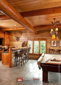 Log Home Game Room with Bar