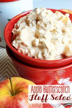 Apple Butterscotch Fluff Salad - Fresh crunchy apples, crushed pineapple, Cool Whip, butterscotch pudding mix, brown sugar, and marshmallows - such an awesome salad for fall apple picking!