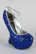 Privileged Valeria Sequin Studded Spike Heel Less Curved Wedge