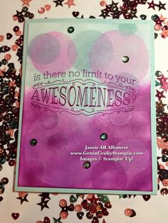 #BokehTechnique on #handstamped Awesomeness #CardMaking #PaperCrafting #Tutorial #Bokeh #RubberStamping #TieDyed #SpongeTechnique #Sequins #GettinCraftyStampin #StampinUp #Blog