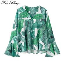 2017 Fashion Women Summer Long Sleeve Chiffon Blouse V Neck Flare Sleeve Green Palm Leaf Print Casual Summer Tops Chemise Femme