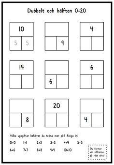 Den här läxuppgiften finns i tre olika svårighetsgrader. Dubbelt och hälften 0-12 Dubbelt och hälften 0-20 Dubbelt och hälften 0-100 Du hittar dem i samma dokument (se under bilden). Dubbelt och hä…