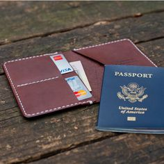 Leather Passport Wallet.  Perfect for travel, Graduation Gift, Adventure, Exploring, World Travel. Made in the USA.  Horween Leather.  American made.  Passport case.
