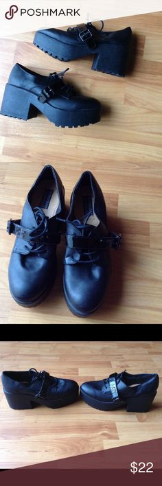 Women's Shoes by an Urban Outfitters Brand Brand New Lace Up Platform Shoes with Buckles and Chunky Heel; This Brand is Sold at Urban Outfitters Deena & Ozzy Shoes Platforms