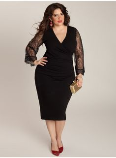 Paola Plus Size Dress - Dresses by IGIGI - I like that subtle flare of lace at the cuff.