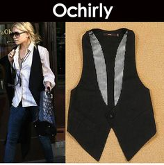 euro 12.50 incl. shipping 2013 spring women's slim all match fashion Women black one button vest suit vest female-inVests & Waistcoats from Apparel & Accessories on A...