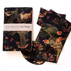 Black Bird Printed Kneehi Stocking by StrathconaStockings on Etsy, $36.00