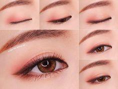 Coral Pink Eyeshadow Makeup Tutorial - make_up_pintennium Korean Makeup Look, Korean Makeup Tips, Asian Eye Makeup, Korean Makeup Tutorials, Eye Makeup Tips, Makeup Ideas, Korean Makeup Tutorial Natural, Daily Eye Makeup, Makeup List