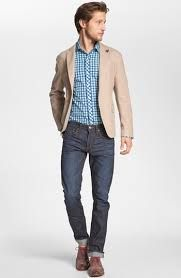 Christians tan sports jacket and jeans. Chapter 13.
