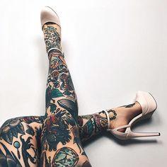 Leg sleeve goals inspiration from Julia Coldfront. goals traditionalamerican legsleeve