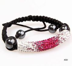 $4.57  52x9mm Bracelet Jewelry Findings Tube Shape Dark Red And Clear