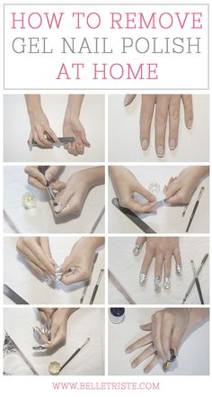 How to remove gel nail polish at home - The Beauty Thesis - How to remove gel nails at home. Gel Pedicure, Gel Manicure At Home, Pedicure Designs, Gel Designs, Diy Nails, Pedicure Ideas, Shellac Nails, Remove Shellac Polish, Remove Acrylic Nails