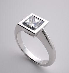 Modern Engagement Ring Settings | SIMPLE CONTEMPORARY ENGAGEMENT RING SETTING PRINCESS SQUARE BEZEL ...