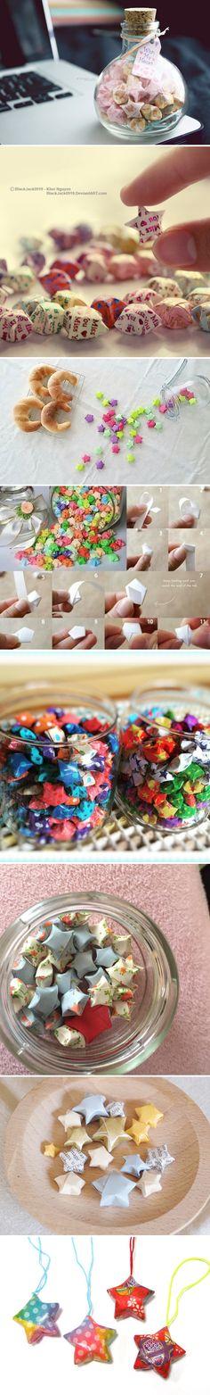 """折り紙でつくるちいさな星!噂の「#ラッキースター」に願いをこめて Small stars that you make with folded paper (origami)! Make a wish on the legendary """"#LuckyStar"""" Hobbies And Crafts, Fun Crafts, Diy And Crafts, Crafts For Kids, Paper Crafts, Art N Craft, Craft Work, Flower Shower, Diy Papier"""