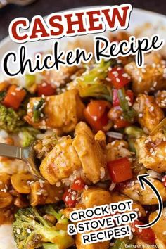 Skip take out and make this easy and delicious Cashew chicken recipe at home. Your family will love it and you will save time and money. It's a great meal. Easy Cashew Chicken Recipe, Chicken Recipes At Home, Slow Cooker Cashew Chicken, Cashew Recipes, Asian Recipes, Chicken Meals, Easy Recipes, Crockpot Dishes, Crock Pot Cooking