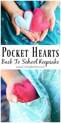Fill a pocket heart with love as a back to school keepsake for your child. A nice tool for helping to deal with nerves or anxiety about going back to school. Quick and easy to sew! Back To School Party, Back To School Hacks, Back To School Activities, School Parties, First Day Of School, Craft Activities, Back To School Gifts For Kids, Counseling Activities, School Lunch