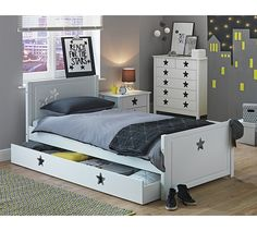 Buy Collection Stars Single Bed with Drawer - White at Argos.co.uk - Your Online Shop for Children's beds, Children's furniture, Home and garden.