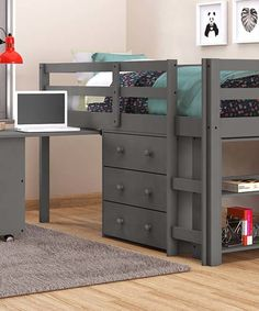 Take a look at this Dark Gray Twin Low-Loft Bed today!
