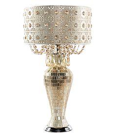 Solvang Metal & Mosaic Table Lamp & Cascading Crystal Shade