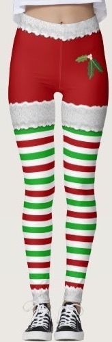Fun Christmas leggings with stripes fake lace and mistletoe. everything you need to look funny this holiday season.