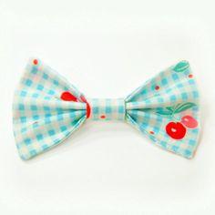 Fairy Kei Lolita Cherry Gingham Kawaii Hair Bow Clip Barrette Light Aqua-ish Blue Large Hair Accessory