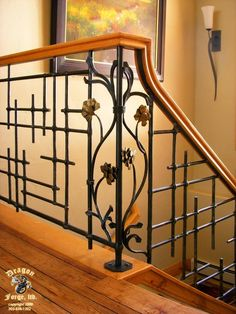 Dragon Forge in Colorado does some amazing work. _____________ American Craftsman Slit and Drift Railing with Art-Deco Pinecones - Dragon Forge - Colorado Blacksmith Modern Stair Railing, Stair Railing Design, Iron Stair Railing, Metal Railings, Staircase Railings, Modern Stairs, Rebar Railing, Banisters, Staircases