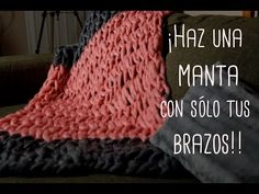 How to arm knit a chunky Merino wool blanket in 30 minutes! www.becozi.net - YouTube