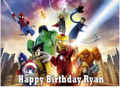 Personalised A4 Edible ICING Sheet LEGO MARVEL SUPERHEROES Birthday CAKE Topper
