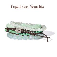 ☀️Summer Sale☀️ Crystal Cove Wrap Bracelet Beautiful sea foam green set of 4 bracelets teamed with a wrap around leather and turquoise toggle' looks great alone or layered with other bracelets.....Bundle up and save 20% off 3+ items Vivi Jewelry Bracelets
