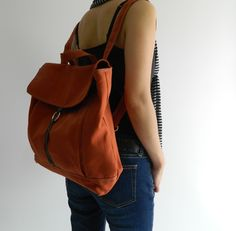 Tanya in Orange Pumpkin Backpack / Satchel Rucksack / Laptop bag  /Tote / Women/ Unisex  / School bag /Christmas in July  SALE 25% off by christystudio on Etsy https://www.etsy.com/uk/listing/84266535/tanya-in-orange-pumpkin-backpack-satchel