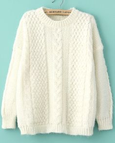 Beige Long Sleeve Loose Cable Knit Sweater EUR€25.42