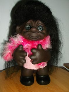 DAM 1982 Troll Doll With Pink Boa Wrap - Really Adorable