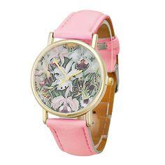>> Click to Buy << 2016 New Hot Flowers Women Men Leather Band Analog Quartz Dial Wrist Watch watch women #Affiliate