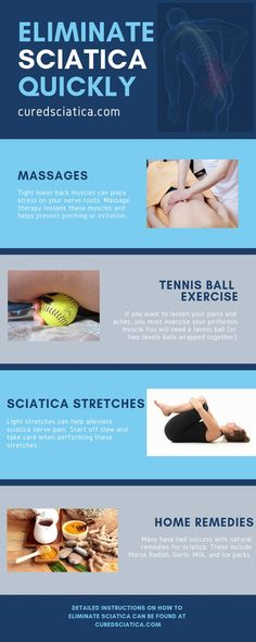 Here are some quick tips to help with your sciatic pain. These will help to relieve your pain but you should use them along with a soli. Treating Sciatica, Sciatica Stretches, Sciatica Symptoms, Sciatica Pain Relief, Sciatic Pain, Headache Relief, Sciatica Pain Treatment, Acupressure Treatment, Exercises