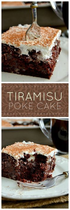This Tiramisu Poke Cake is bursting with the classic flavors of tiramisu: rich chocolate, sweet & fluffy whipped cream, and dark coffee - but in a simple-to-make cake!