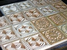 Detail of carved wooden plaques / serving platters / trivets (Made and carved by Dave Melnychuk)