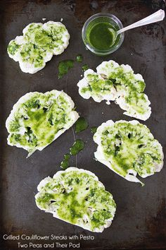 Grilled cauliflower steaks w/pesto..delicious side or main dish & for your vegan gluten free guests, it's perfect!