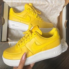 Bright yellow Nike Air Force ones Sock Shoes, Women's Shoes, Nike Shoes, Shoes Sneakers, Yellow Sneakers, Shoes Trainers Nike, Yellow Trainers, Souliers Nike, Stilettos