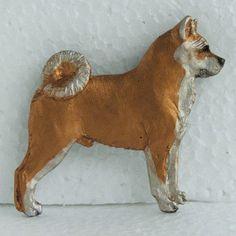 Japanese Akita Brooch Dog Breed Jewellery Handpainted Handcrafted Resin