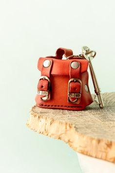 Mother's Day Gift. Leather keychain, dark orange mini bag, key chain leather, keyfob, keyring, kyholder.