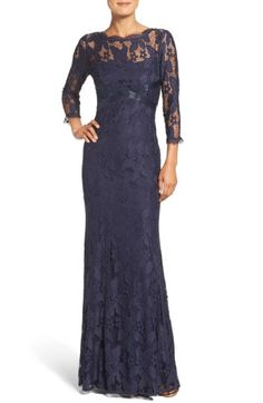 Free shipping and returns on Adrianna Papell Illusion Yoke Lace Gown at Nordstrom.com. This illusion-yoke lace gown gets its incredibly flattering shape from a scalloped bateau neckline, crisscrossed Empire waist and slenderizing princess seams that flounce toward the flared hem.