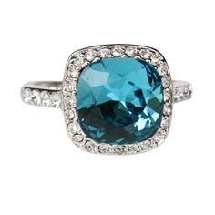 Fashion Plaza 18k White Gold Plated Use Swarovski Crystal Wedding Engagement Ring R232